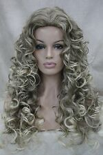 new sex light brown mix blonde tip curly long synthetic hair women's quality wig