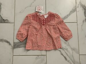 NWT Hanna Andersson size 80 (2T) toddler girl pink floral top