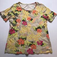 White Stag Colorful Floral Print Short Sleeve Top Size Large A282