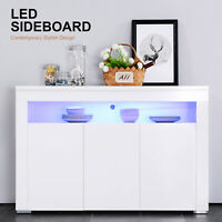 High Gloss White Sideboard Cabinet Cupboard Buffet Storage Unit with LED Light