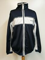 MENS VINTAGE DIADORA NAVY WHITE BLUE LONG SLEEVE TRACKSUIT TOP SMALL S 36""