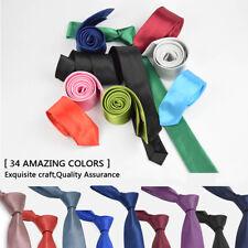 "2"" Classic Skinny Men's Slim Striped Party Tie Plain Silk Jacquard Woven Necktie"