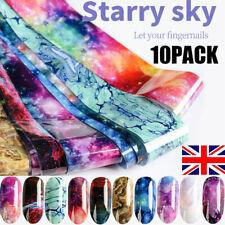 10Pcs Holographic Nail Foil Transparent Starry Sky Nail Art Transfer Sticker New