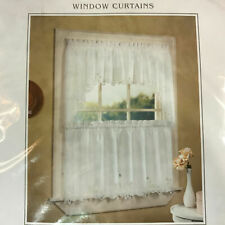 "Window Curtains Battenburg 60"" x 24"" Cotton Tailored Tiers Ivory New In Package"