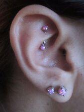 Pink Lab Opal Internally Threaded Curved 16G (1.2mm) Eyebrow or Rook Piercing