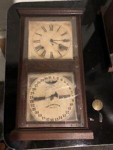 Antique 1866 Ithaca Calendar Clock Farmers Works Time & Date Parts Or Repair.