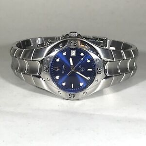 Bulova Mens Blue Dial Stainless Steel Marine Star Watch With Date 96B49