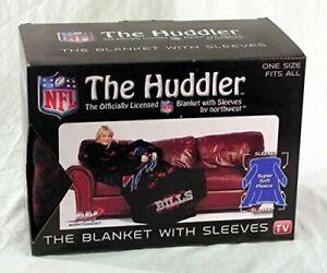 "Buffalo Bills NFL Adult ""Smoke"" Huddler Throw Blanket with Sleeves"