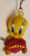 Looney Tunes Tweety Bird holding Heart Shape coin purse keychain vintage