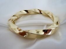"""14K Yellow Gold Estate Twisted Hinged Bangle Bracelet Oval ⅜"""" Wide,  2 ⅜"""" X 2"""""""