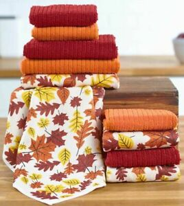 10pc Different Microfiber Kitchen Dishcloths Set, COLORFUL LEAVES & FALL COLORS