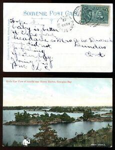 PORT SEVERN Ontario Simcoe 1908 Split Ring on Honey Harbor Postcard (inv:p01729)