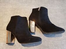 Atmosphere size 6 (39) black faux suede side zip ankle boots heels