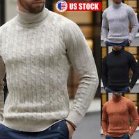 Men Winter Warm Slim Knitted Long Sleeve Turtleneck Pullover Sweater Jumper Tops