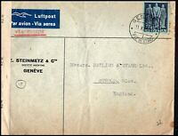 Switzerland 1944 Airmail Luftpost Geneve to Stroud England Opened by Examiner