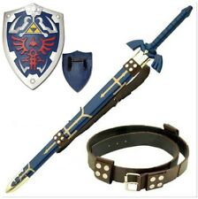 Legend of Zelda Complete Link Cosplay Set Master Sword Shield Belt Steel Leather