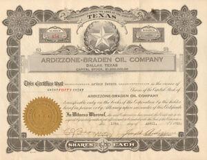 Ardizzone Braden Oil Company > 1920 Dallas Texas old stock certificate share