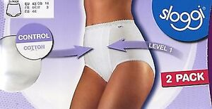 Sloggi Maxi Control Brief in White, Nude or Black - 2 Pack - Size 12 - 26