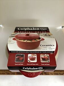 Calphalon Ceramics Covered Casserole - 1.5 QT With Lid - Red