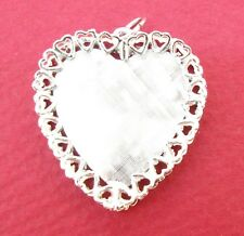 Charm M & M Sterling Silver heart with hearts Valentine fancy engraveable