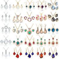 Fashion Women Bridal Wedding Crystal Rhinestone Jewelry Necklace Earrings Set