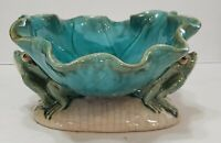 Vintage Frog Footed Pottery Ceramic Dish Bowl Blue Green Drip Crackle Glaze