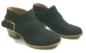 New Qupid Womens Size 9 Ankle Booties Black Suede Side Buckle Slip On Stack Heel