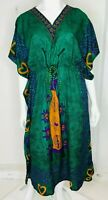 BNWOT Womens Size 18 To 20 Emerald Green Over Sized Viscose Summer Kaftan Dress