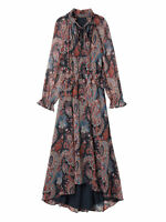 NWT $248 Banana Republic Olivia Palermo Paisley Print Silk Maxi Dress L