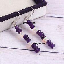 Natural Purple Amethyst Opal Beads 925 Silver Hook Earring  ea-016
