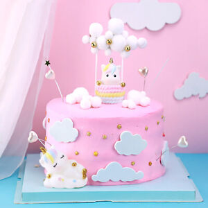 9Pcs Unicorn Cloud Round Ball Birthday Cake Topper Multicolour Party Decoration