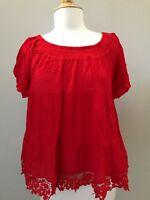 UMGEE womens short sleeve  top red Size S / M / L NWT .