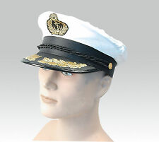 NEW WHITE ADULT YACHT BOAT CAPTAIN HAT NAVY CAP SAILOR SATIN HAT FANCY DRESS
