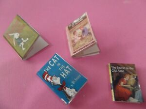 4 Kids Books Dollhouse Miniatures Cat in Hat,+3. 1:12 scale Blank Pages