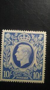 GB King George VI 1942 Mounted Mint Ultramarine 10/- SG 478a Wmk.133