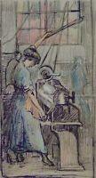 BURGER, Granatendreherin. In der Waffenmanufaktur, 20. Jh., kolorierte Tusche