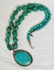 """Native American Turquoise Beaded Necklace ~ 29"""" 46-pcs. Turquoise, 6.4 oz TW"""