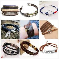 New Men's Punk Wristband Bracelet Handmade Multilayer Women Leather Men Bangle