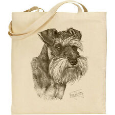 MINI Schnauzer Mike Sibley DOG Print Riutilizzabili Cotone Shopping Tote Bag