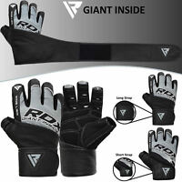 RDX Leather Weight Lifting Body Building Gym Gloves Training Long Straps Gel Pad