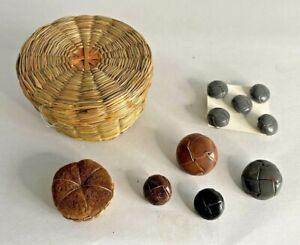 Vintage Woven Basket Pin Cushion and Sewing Box with Leather Buttons