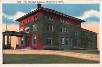 The Bronson Library, Waterbury, Connecticut, Early Postcard, Unused