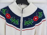 Talbots Raglan Zip Front Cardigan Sweater-Embroidery-Cream -Size XL-NWT $89