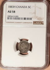1883H Canada 5c, NGC graded AU58, Very Scarce This Grade