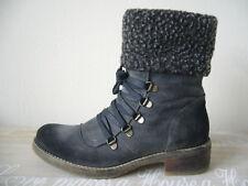 PIER ONE 💖 Damen Vintage Bergsteiger-Boots Fellstulpe 37 Wildleder Grau