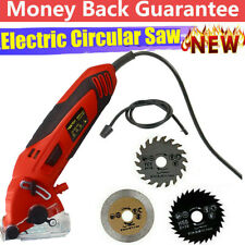 Power Electric Compact Circular Saw Woodworking Tools & 3 Cutting Blades UK Plug