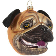 Pug Head Glass Christmas Ornament, Holiday Gifts for Dog Lovers