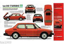 1978 / 1979 / 1980 SAAB 99 TURBO SPEC SHEET / Brochure / Flyer