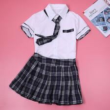 Women's School Girl Uniform Costume Outfit Tops Plaid Mini Skirts Dress Roleplay