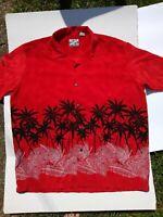 Red men's Sz XL s/s silky Hawaiian Aloha Shirt Pineapple Connection palm trees.